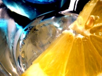 Wallpaper Preview blue glass lemon Blaues Glas gelbe Zitrone Vorschau